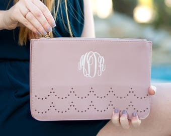 Monogrammed Personalized Vegan Leather Clutch