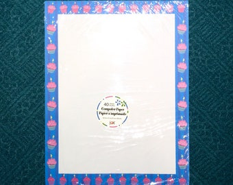 "1 New Pack of 40 Sheet Letterhead Computer Printer Paper. Pink Cupcakes with Candle on Blue Striped Border, 8.5"" x 11"". Laser & Ink Jet."