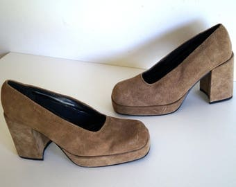 Vintage Platform Shoes GO CRAZY Leather shoes Heel Pumps Designer shoes Eur size37 Genuine leather shoes Tan color Shoes Camel brown shoes