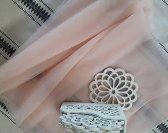 1/2 meter !!!!!!! Light Pink, Light Blush Soft silk tulle fabric, silk like tulle  - 2.85 METERS WIDTH