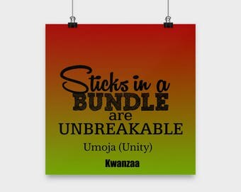 Motivational Room Decor-Sticks In A Bundle Are Unbreakable-Kwanzaa-Home Wall Hanging Art Modern African Holiday