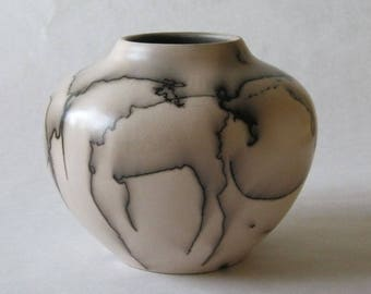 horsehair fired ceramic vessel 17-013
