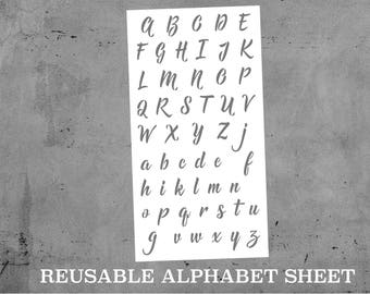 "Hill Font Alphabet Reusable STENCIL | Laser Cut | 118pt Font = Aver. 1.5"" lettering 