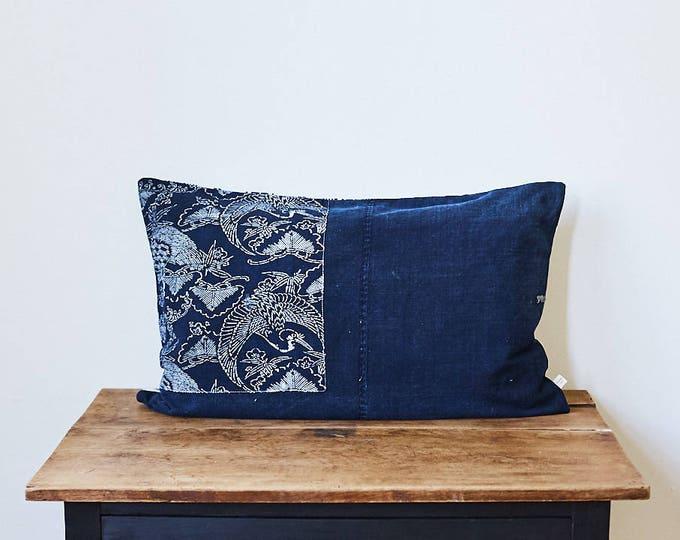 "Vintage Japanese katazome fabric pillow 16"" x 26"""