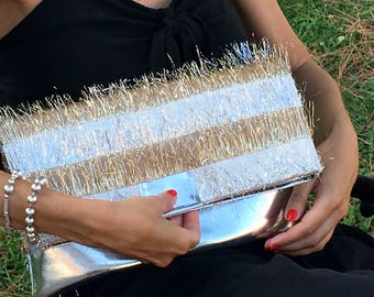 SHINING STARLIGHT CLUTCH-JewelClutchBag-Gold & Silver-fringed Sophisticated high fashion Fabric