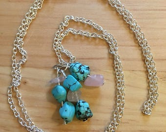 Turquoise and Rose Quartz Genuine Crystal Necklace on a Silver Chain