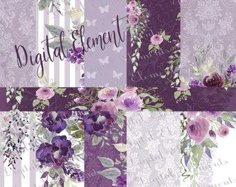 Lavender Digital Paper, Lilac Wedding Paper, Floral Wallpaper, Background Florals, No. P209