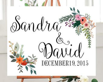 Custom Wedding Sign,  Printable, Country Wedding, Wedding Printables,  Floral sign, Wedding Signage