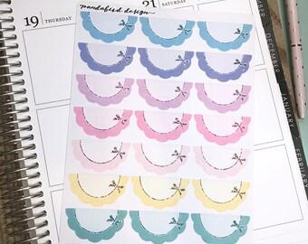 Scallop Half Box Planner Stickers | Scallops Bright Bows