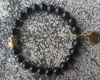 Energized bracelet Protection and well-being zen Buddha gold Black Onyx