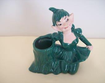 Pixie Elf in Skirt Planter Ceramic Dark Green 1951. Vintage