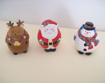 Roly Poly Reindeer Santa Snowman Figurine Set of 3 Ceramic 1998