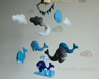 baby mobile, whale,  Baby Crib Mobile - Nursery Crib Mobile - Nursery Decor -Baby