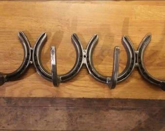Horseshoe hooks x 4 coathook, dog lead hook, shed hooks, tools tackroom, gift for him gift for her many uses