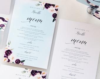 Tamara Burgundy Floral Wedding Menus, Printable Menu Printed Menus Watercolour Burgundy and Blush Menus, Beach Menus Chic Wedding Stationery