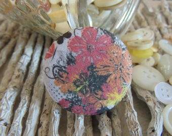 x 1 cabochon 22mm bouquet flowers 1 BOUT10 fabric