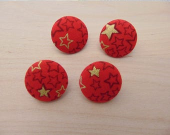 4 x buttons 19mm Red Star fabric Golden TOUR5