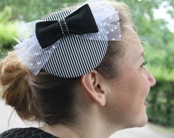 Fascinator black white striped with black bow and polka dot tulle