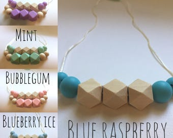Ice Cream Collection Teething Necklace - BPA free Silicone Chew Beads and Natural Wood