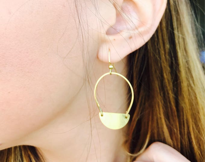 Hammered Half Moon Gold Brass Hoops