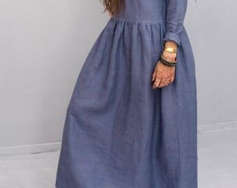 Dress, linen, loose dress, eco, friendly, long dress, with pockets,  blue, long sleeve