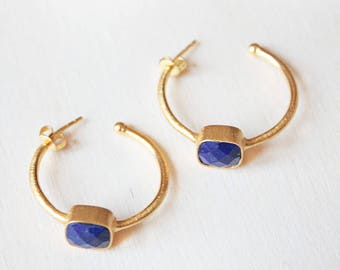 Lapis lazuli earrings, Blue earrings, blue hoop earrings, lapis lazuli jewelry blue gemstone earrings, lapis lazuli Gold hoop earrings