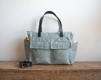 Waxed canvas bag, 11 pocket diaper bag, Waxed canvas diaper bag, Waxed canvas tote, Canvas tote bag, Leather canvas bag, Slate Gray