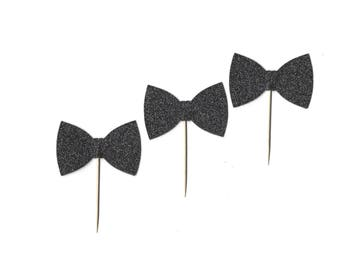 Black Tie Cupcake Toppers, Black Glitter Bow Tie Picks, Bachelor Party, Men's Stag Party Decor, Groom's Cake Decoration, TwoSistersGreetings