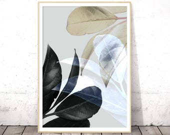 Botanical Leaf Print, Tropical Plant Print, Large Wall Art, Tropical Leaf, Plant Leaf Wall Art, Botanical Leaf Art, Modern Wall Decor