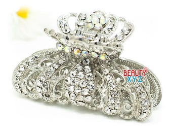 Silver color Crystal high quality Metal Imperial crown Hair Claw Clip Pin