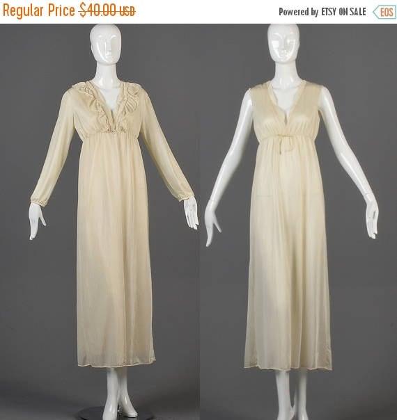 SALE Medium 1970s Lingerie Set 70s Sheer Nightgown Peignoir