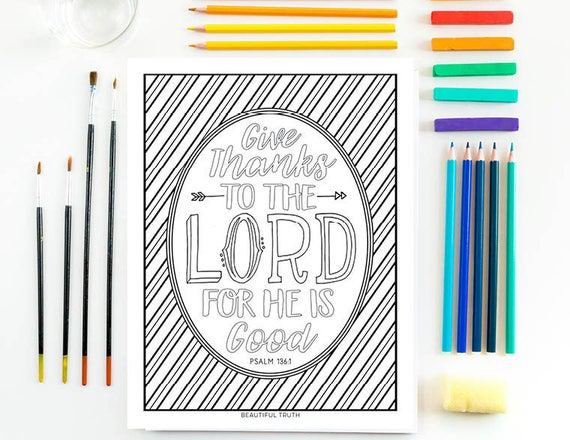 Give Thanks Coloring Page Psalm 136 1 Printable Coloring