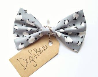 dog bow tie, sheep dog bow tie, grey dog bow tie, dog clothing, puppy bow tie, detachable bow tie, pet bow tie