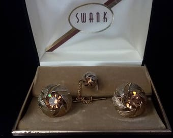 Signed vintage Swank cufflinks and tie tack topaz rhinestone vintage cufflink set cufflink tie tack set