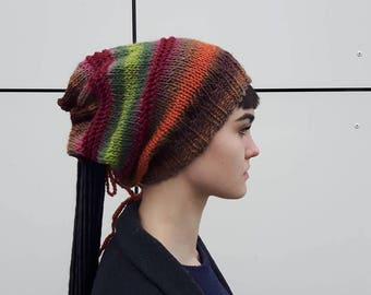 Brown dreadlock hat, Dreadlocks wraps, Colorful handmade knit hat, Dreadlocks hat & neckwarm, Chunky knit dreadlock hats,OOAK ,Ready to ship