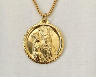 "Vintage Saint Anne medallion, St Anne de Beaupre religious pendant, gold overlay 1 1/4"" diameter pendant with a 24"" box chain"