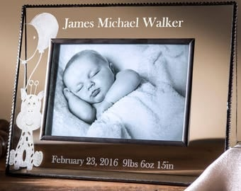 Baby Gift Personalized Photo Frame for Baby Boy Engraved Glass Picture Frame  4x6 Horizontal Frame Giraffe Nursery Decor 319-46H EP556