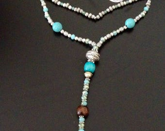 SILVER TIBETAN WITH TURQUOISE AND MINK POMPOM NECKLACE