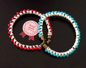 TWO BRAIDS WITH BEADS BRACELETS