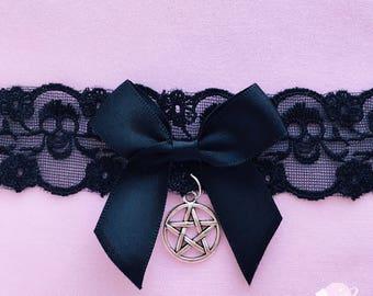 Pastel Goth lace choker, creepy cute choker, saturn charm, moon charm, bell choker