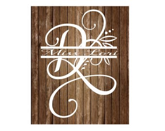 D split letter Samantha  font elegant monogram  dfx SVG decal  signs, vinyl decal, wood sign, t shirt, wedding