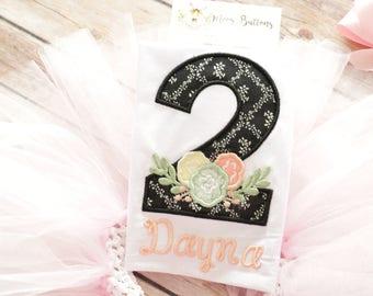 Flower Birthday Shirt, 2nd Birthday outfit, Girls Birthday Outfit, Floral Birthday Shirt, Floral Party, Flower Party, Floral outfit.