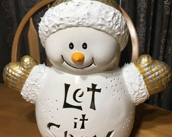 Let it Snow Snowman- Silver and Gold