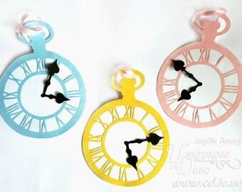 Set of 3 Alice in Wonderland Clocks - Alice in Wonderland inspired - tea time party decoration - alice wedding - Alice Decor - Alice Party