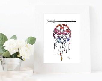 Watercolour Dream Catcher Wall Art