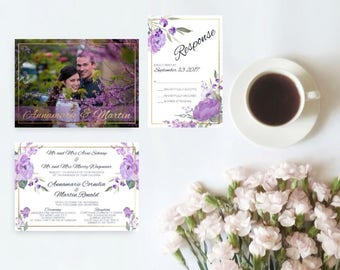 Lilac and Gold Floral Wedding Invitation Set