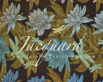Bronze jacquard water lily fabric by yard
