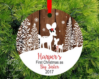 2017 Christmas Ornament Big Sister Little Brother Personalized First Christmas as Big sister Fawn Ornament Big Sister Gift