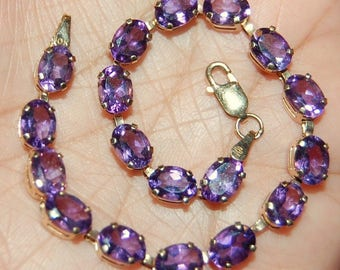 10K Solid Yellow Gold Tennis Bracelet Purple Amethyst Gemstones 5.7gr 7""