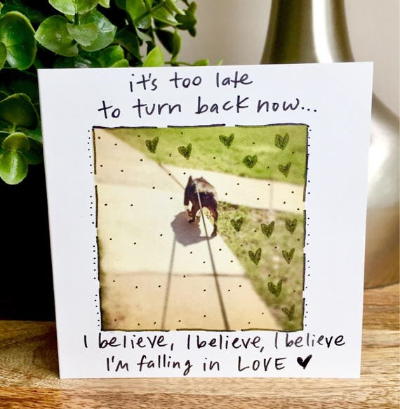 It's too late to turn back now, boston terrier card, Love card for her, i love you card,funny love card, sidesandwich, dog i love you card,